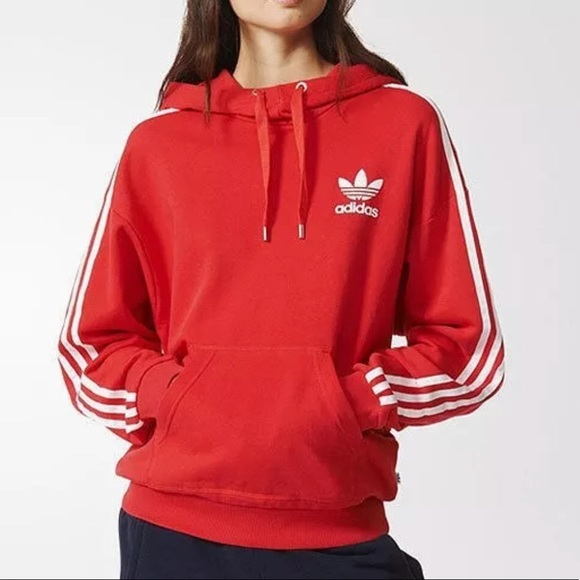 RARE ADIDAS women's 3 stripes pullover hoodie